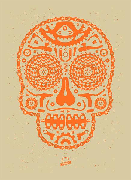 Douze Bike scull orange urban art gallery buy street art screenprint poster art of rock
