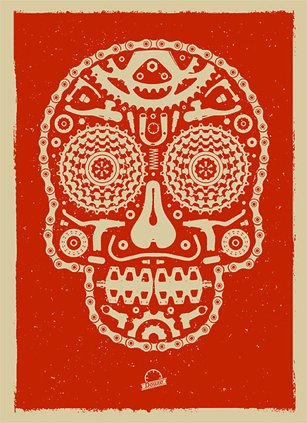 Douze Bike scull red urban art gallery buy street art screenprint poster art of rock