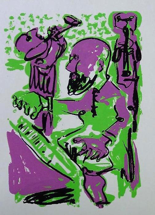 MARKUS LÜPERTZ JAZZ GRAFIK Grafik Lithografie Litho Siebdruck screenprint Original Druckgrafik Druck Print Junge wilde