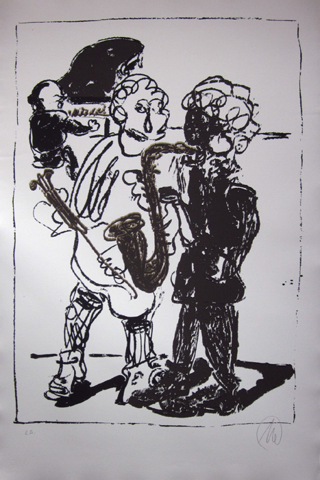 MARKUS LÜPERTZ Jazzreally Grafik Lithografie Litho Siebdruck screenprint Original Druckgrafik Druck Print Junge wilde