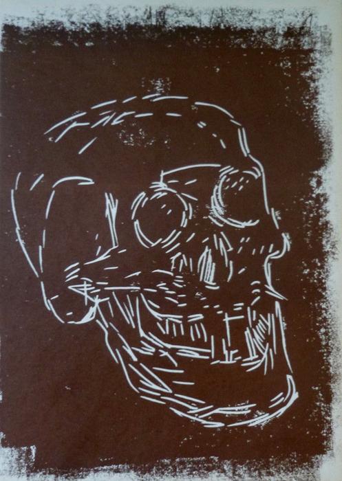 Markus lüperts Linolschnitt Skull 7